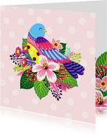 Vrolijke en kleurrijke dierenkaart met leuke vogel