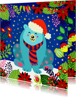 Vrolijke en kleurrijke kerstkaart met ijsbeer en bloemen