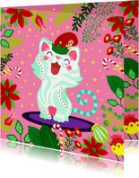 Vrolijke en kleurrijke kerstkaart met kat en bloemen