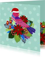 Vrolijke en kleurrijke kerstkaart met vogel en bloemen