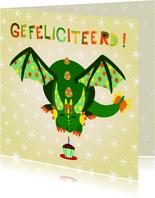 Vrolijke en kleurrijke verjaardagskaart met groene draak