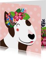 Vrolijke en kleurrijke verjaardagskaart met hond en bloemen