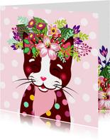 Vrolijke en kleurrijke verjaardagskaart met kat en bloemen
