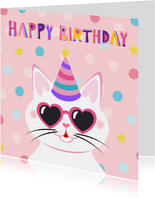 Vrolijke en kleurrijke verjaardagskaart met kat met bril