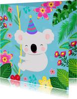 Vrolijke en kleurrijke verjaardagskaart met koala en planten