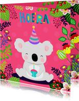 Vrolijke en kleurrijke verjaardagskaart met koala