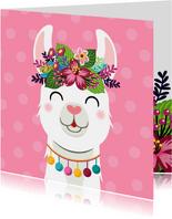 Vrolijke en kleurrijke verjaardagskaart met lama en bloemen