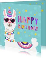 Vrolijke en kleurrijke verjaardagskaart met lama met bril
