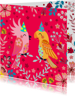 Vrolijke en kleurrijke verjaardagskaart met leuke vogels