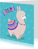 Vrolijke en kleurrijke verjaardagskaart met lieve alpaca