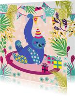 Vrolijke en kleurrijke verjaardagskaart met lieve luiaard