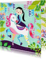 Vrolijke en kleurrijke verjaardagskaart met meisje op paard