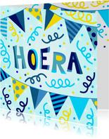 Vrolijke en kleurrijke verjaardagskaart met slingers