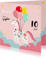 Vrolijke unicorn verjaardagskaart met ballonnen