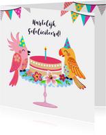 Vrolijke en kleurrijke verjaardagskaart met vogels en taart