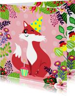 Vrolijke en kleurrijke verjaardagskaart met vosje en bloemen