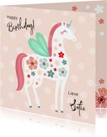 Vrolijke en kleurrijke verjaardagskaart unicorn met vleugels