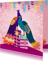 Vrolijke en stijlvolle verjaardagskaart met pauwen