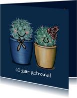 Vrolijke felicitatiekaart huwelijksjubileum met cactussen