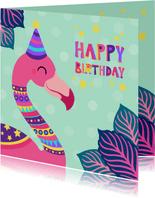 Vrolijke felicitatiekaart met kleurrijke flamingo