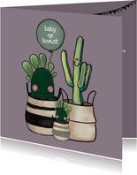 Vrolijke felicitatiekaart zwangerschap met cactussen en baby