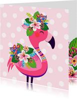 Vrolijke flamingo verjaardagskaart en bloemen
