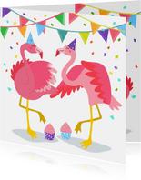 Vrolijke flamingo verjaardagskaart met slingers