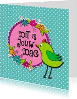 Verjaardagskaarten - Vrolijke groene vogel