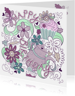 Verjaardagskaarten - Vrolijke happy birthday kaart