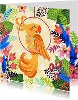 Vrolijke kaart met papegaai en bloemen