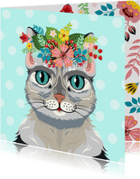 Vrolijke kat dierenkaart met botanisch thema