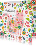 Vrolijke kat met bloemen kleurrijke verjaardagskaart