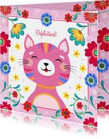 Vrolijke kat verjaardagskaart met kleurrijke bloemen
