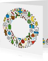 Vrolijke kerst doodles krans kerstkaart