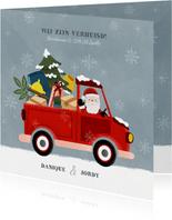 Vrolijke kerst verhuiskaart pickup truck kerstman en sneeuw