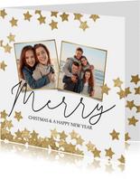 Vrolijke kerstkaart 2 fotos en sterren goud