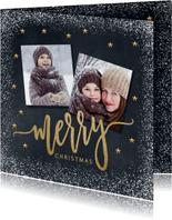 Vrolijke kerstkaart krijtbord sneeuw Merry