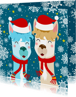 Vrolijke kerstkaart met alpacas en sneeuwvlokken