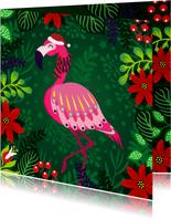 Vrolijke kerstkaart met flamingo met sjaal