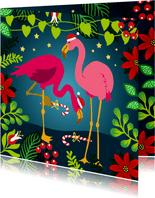 Vrolijke kerstkaart met flamingo's