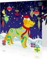 Vrolijke kerstkaart met hond en sneeuwvlokken