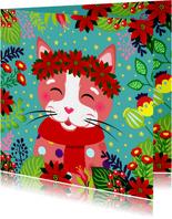 Vrolijke kerstkaart met kat, bloemen en sterren