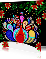 Vrolijke kerstkaart met kleurrijke pauw en kerststerren