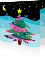 Vrolijke kerstkaart met lachende kerstboom