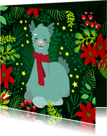 Vrolijke kerstkaart met lama met sjaal, bloemen en planten