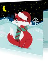 Vrolijke kerstkaart met lief vosje en sterren