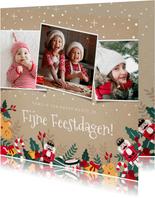 Vrolijke kerstkaart met notenkraker, hulst en eigen foto's
