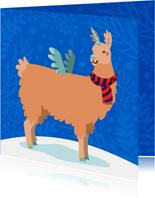 Vrolijke kerstkaart met unicorn lama