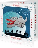 Vrolijke kerstkaart met vliegend olifantje