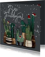 Vrolijke kerstkaart vol met cactussen en sterren